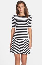Trina Turk Stripe Stretch Cotton Fit & Flare Dress