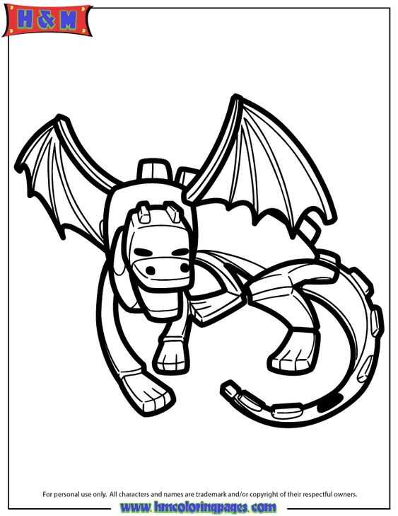 Ender Dragon Cartoon Coloring Page