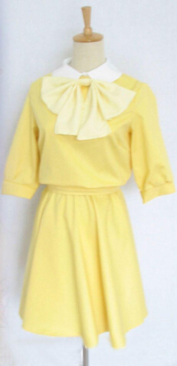 Vicwin-One Gekkan Shoujo Nozaki-kun Sakura Chiyo Yellow Dress Cosplay Costume…