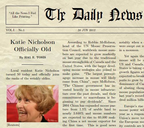 Free Newspaper Generator  Fun Way To Put Your Friends And Family