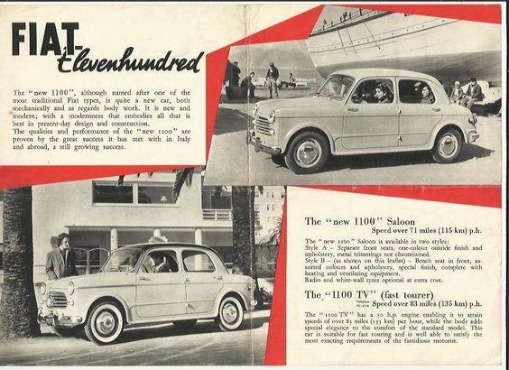 FIAT 1100 Car Sales Brochure c1962 #1693 Family EXPORT Special - sales brochure