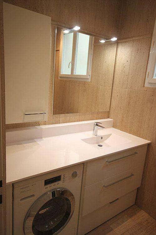 meuble salle de bains avec lave linge