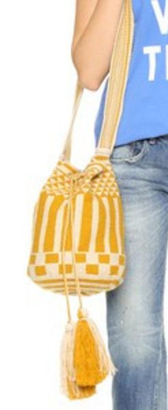 Yellow and White Stripe Guanabana Woven Bucket Bag