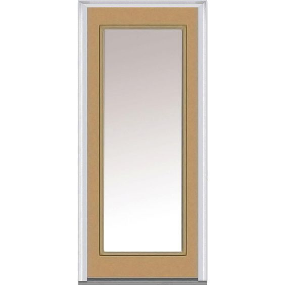 Milliken Millwork 30 in. x 80 in. Clear Glass Full Lite Painted Fiberglass Smooth Prehung Front Door-Z004812R - The Home Depot
