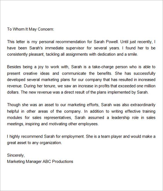 Recommendation-Letter-for-Employment-From-Manager reference - free letters of recommendation template
