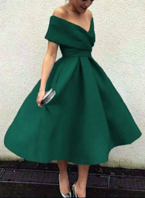 Green Off Shoulder Bridesmaid Dresses, Tea Length Party