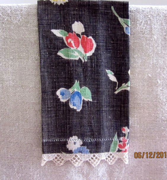Provencal Design and Colors Vintage Linen Towel by angelinabella