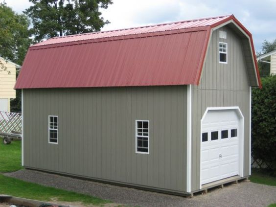 12x24 two story gambrel garage wood tex products for Gambrel roof barn kits