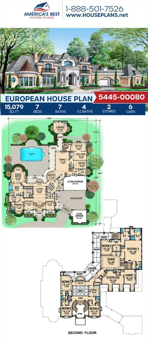 House Plan 5445 00080 European Plan 15 079 Square Feet 7 Bedrooms 9 Bathrooms Mansion Plans Mansion Floor Plan European House