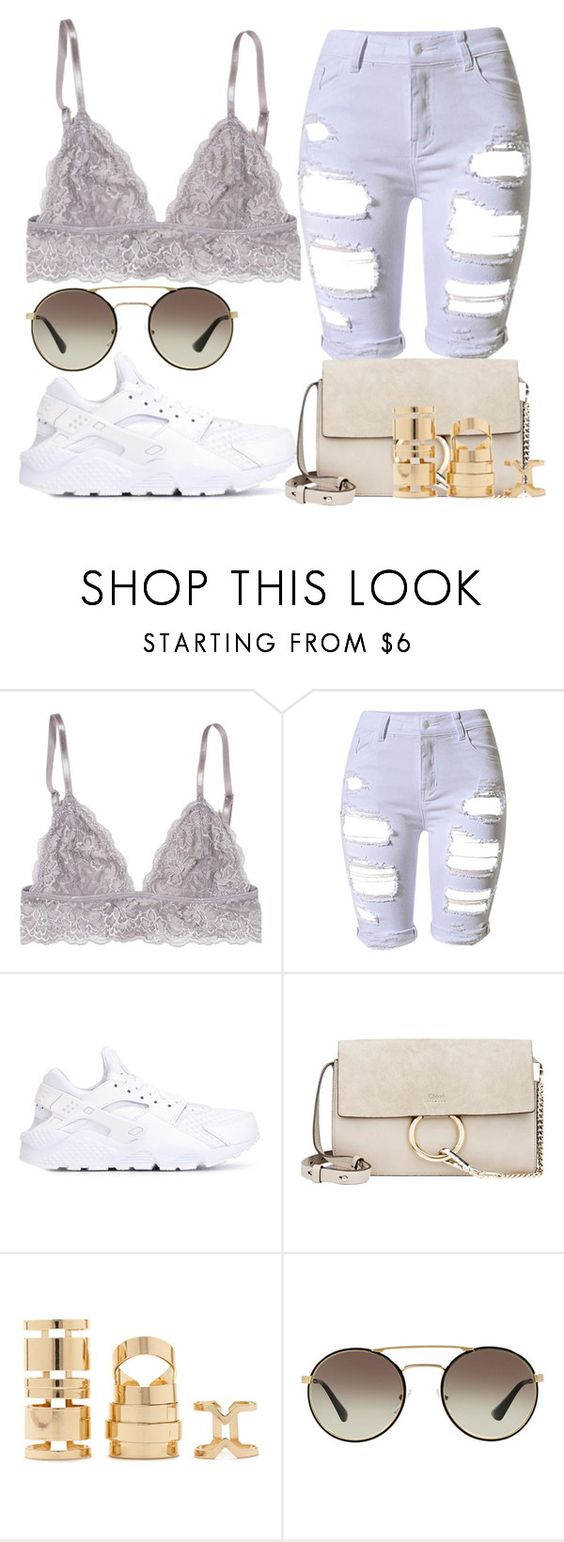"""""""Untitled #1531"""" by beaukastin ❤ liked on Polyvore featuring NIKE, Chloé, Forever 21 and Prada"""