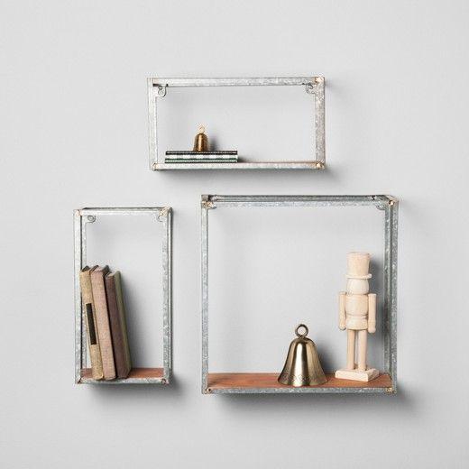 Galvanized Metal And Wood Wall Shelf Set Of 3 Hearth Hand