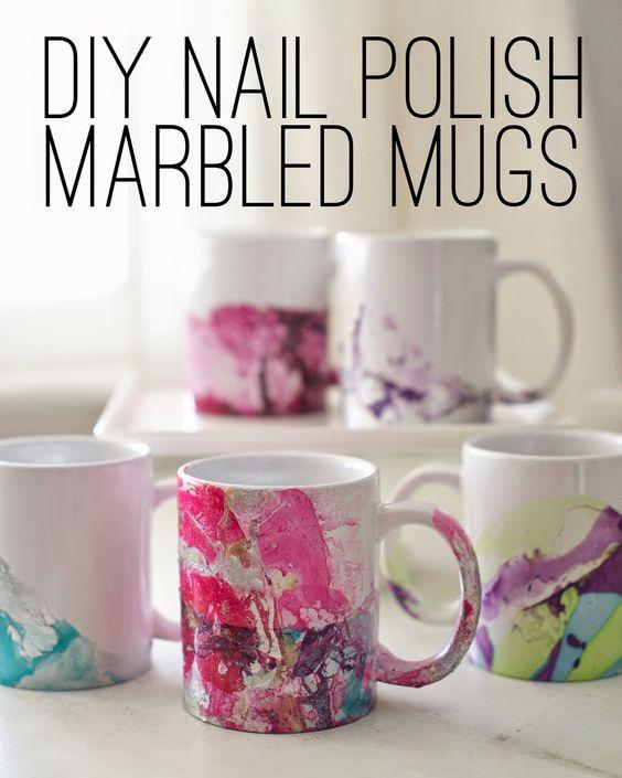DIY Marbled Nail Polish Coffee Mugs