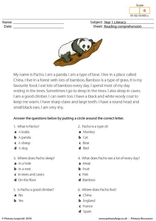 math worksheet : comprehension primary resources and pandas on pinterest : Multiple Choice Reading Comprehension Worksheets