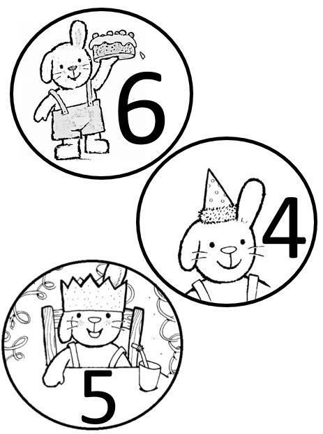 Plaatjes gemaakt voor op de verjaardagsmutsen, geheel in het thema 'Rikki het konijn'