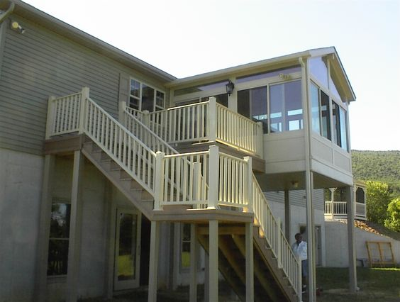 Stairs decking and second story on pinterest for Build sunroom on deck