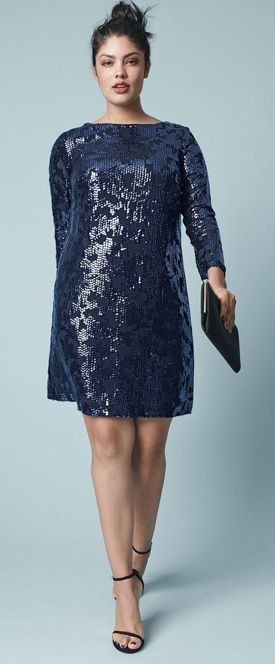 27 Plus Size Sequin Dresses {with Sleeves} - Plus Size New Year's Dresses - Plus Size Fashion for Women - alexawebb.com #alexawebb: