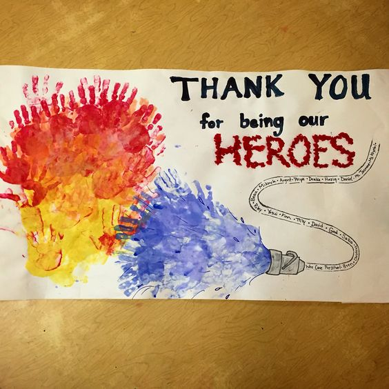 I took my preschoolers to the fire station to meet some of  the heroes of our city- firemen! We made a large thank you card for them! The fire and water are made of handprints and the hose is made from their names! Thank you to all those who dedicate their lives to helping others: