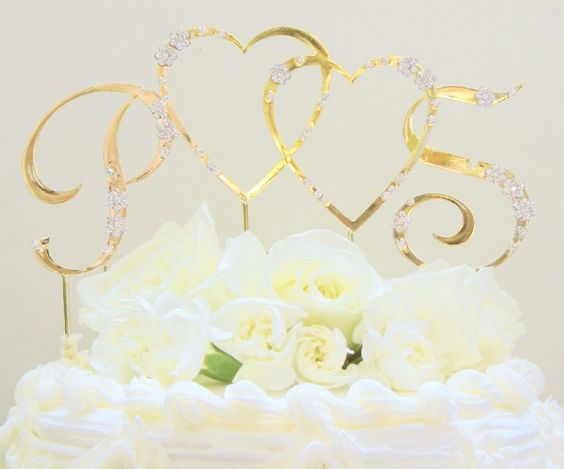 French Flower  Double Heart & Initials Crystal Accented Cake Topper
