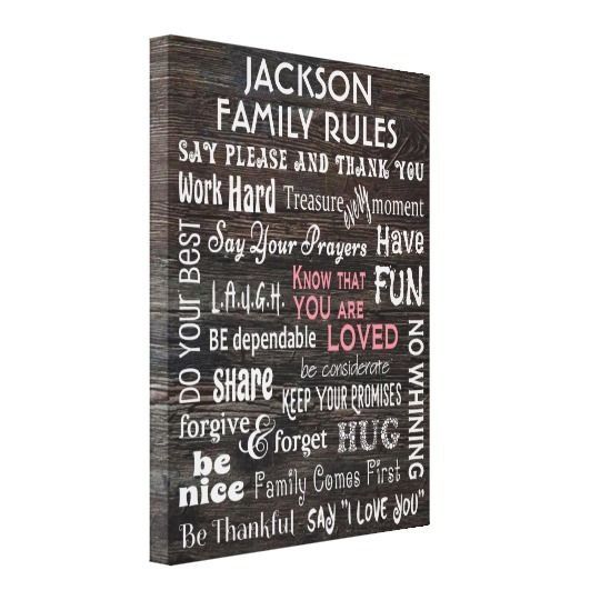 Personalized Family Rules Canvas Print Zazzle Com Personalized Family Rules Family Rules Personalized Family