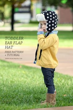 https://www.deliacreates.com/toddler-ear-flap-hat-free-pattern/ Toddler Ear Flap Hat – Free Pattern!: