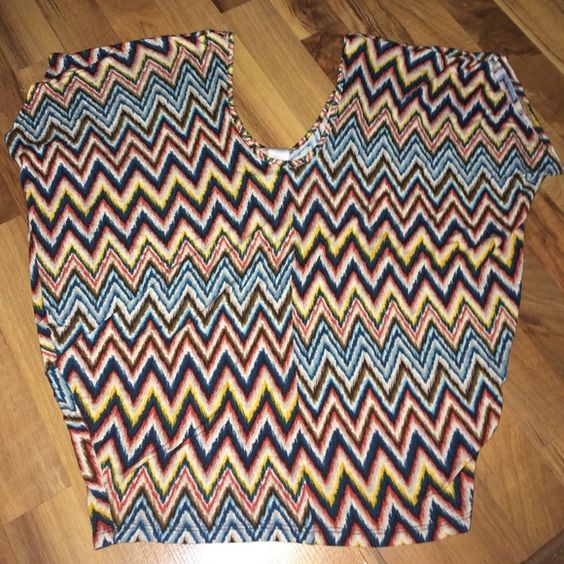 Multicolor chevron print top Multicolor chevron print top. Worn once. Soft material. Size M. 100% rayon Charming Charlie Tops Tees - Short Sleeve