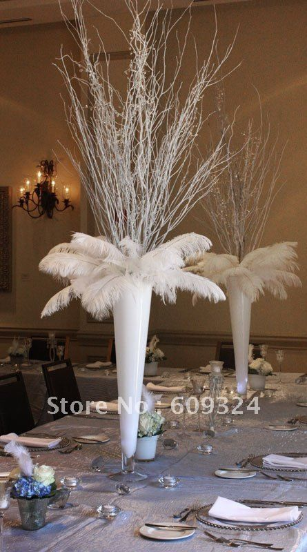 Piece inch white ostrich feather for centerpiece