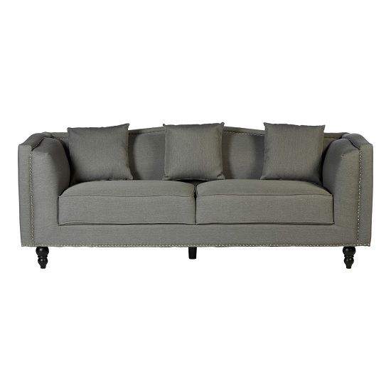 Essence Contemporary Fabric 3 Seater Sofa In Grey Contemporary