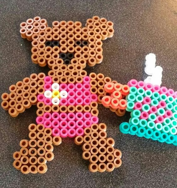 If u never seen a bear in a bikini then now u have. I made this bear out of melty beads.