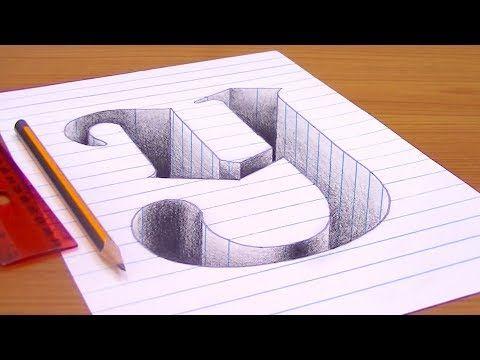 رسم حرف Y ثري دي 3d محفور على الورقة خدع بصرية ثري دي 3d Trick Art Youtube Cool Diy Projects Drawings 3d Drawings