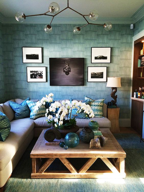 The watery blues of John Bjornen's media room speak to Sag Harbor's seaside setting (photo courtesy of Bjornen Design).