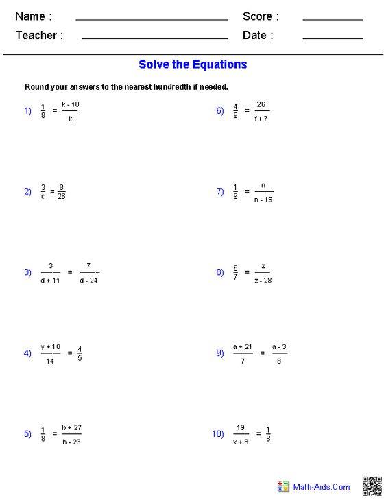 Worksheets Solving Equations Worksheet solving proportions equations worksheets math aids com worksheets