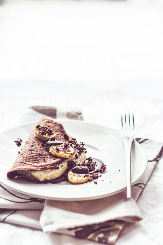 Baked Chocolate Pancakes with banana souffle