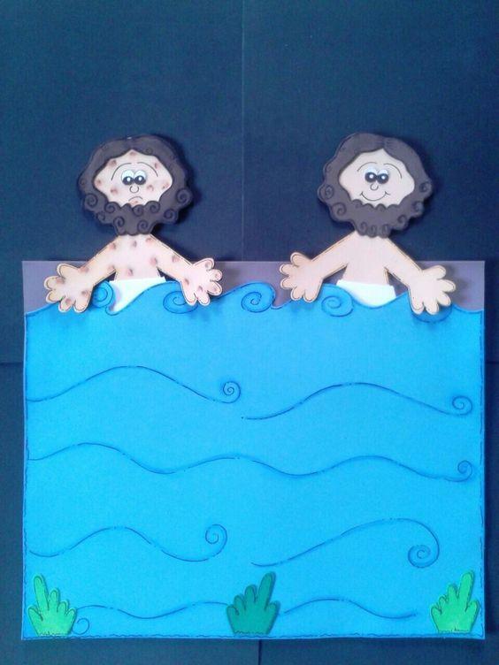 """Dois """"Naamãs"""", o curado fica no fundo do Rio Jordão (bolso) e o doente mergulha 7 vezes, no sétimo mergulho o Naamã doente fica no fundo do rio e você puxa para fora o Naamã curado"""