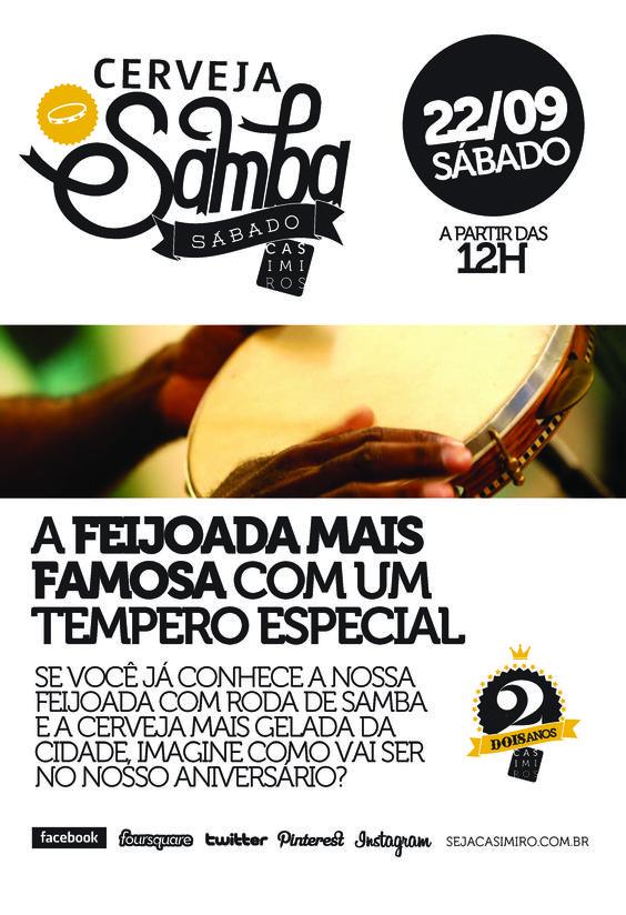 Sábado 23/09 Feijoada + Samba = comemoração #2anosCasimiros