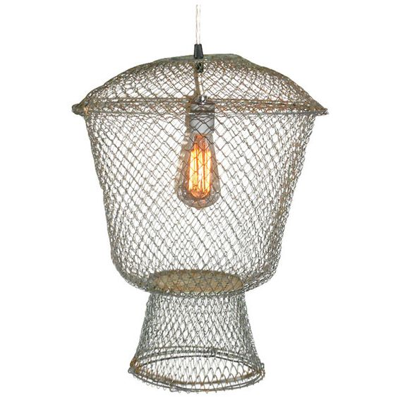 French Fish Basket as Pendant Light