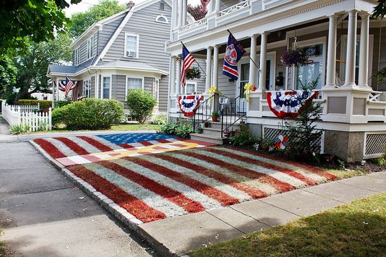 """Bristol, Rhode Island, July 4, 2010 - decorating for its 225th Fourth of July parade, """"the oldest continuous celebration of its kind in the country""""."""
