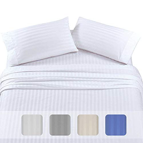 Premium Quality 500 Thread Count 100 Pure Cotton Sheets 4piece White Color King Size Dobby Damask Stripe Long White Bed Sheets Blue Bed Sheets Cute Bed Sheets 100 cotton king size sheets