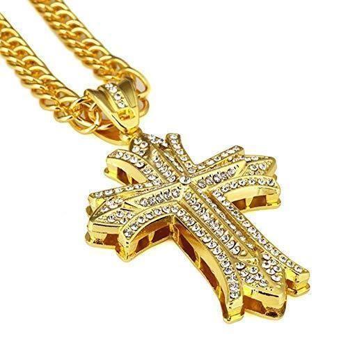 Men/'s 10K Yellow Gold Over 1.25 CT Round Cut Diamond Egyptian Ankh Cross Pendant