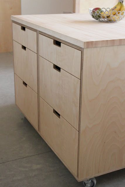 plywood cabinets on CASTORS. Could you have the whole kitchen on castors so it's moveable? Except sink/cooker?