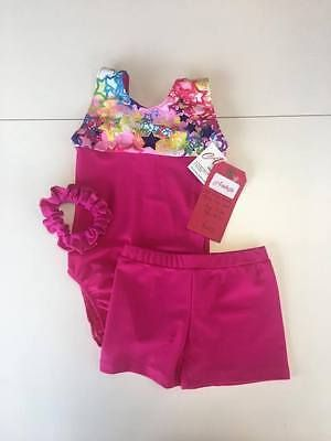 BN Gymnastics leotard and shorts set, Age 5-6 (size 26) - Pink Starshine