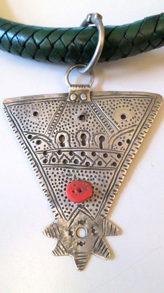 Ancient Berber silver fibula pendant with coral door tribalgallery