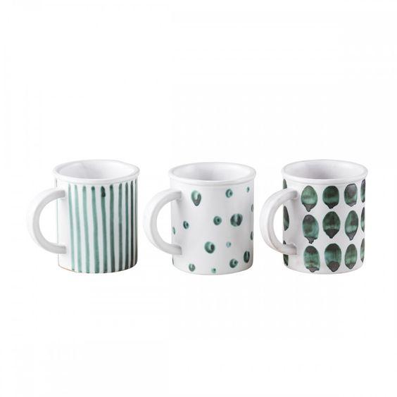 Mug with green dots - Merci