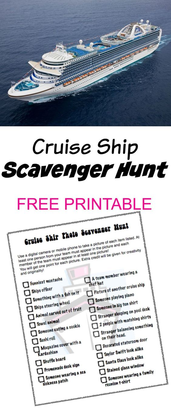 Cruise Ship Photo Scavenger Hunt - FREE PRINTABLE - great activity to do with the kids on a cruise! #alaskacruise #comebacknew