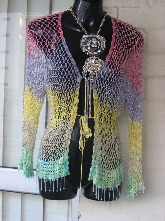 LAST DAY...Vintage Stunning Sheer Ombre Crochet by GlamourZoya, $49.00