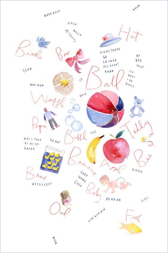"Image of ""First Words"" Art Print: Print Customisable, Art Illustrations, Cute Ideas, Art Prints, Baby Ideas, Baby Artwork, Baby S, Kid"