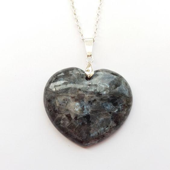 Shimmering Larvikite Heart Necklace, Black Labradorite Heart Necklace, Stone…