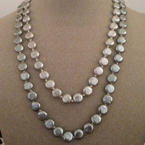 "Two strand faux pearl coin necklace Premier jewelry two tone two tier necklace. Some tarnish on toggle.  Approx 19"" Jewelry Necklaces"