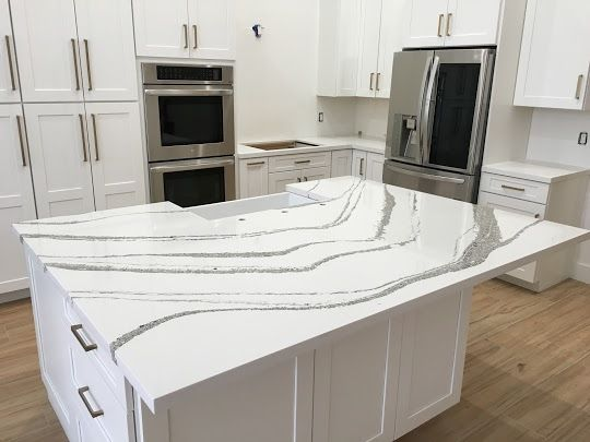 Carrara Quartz Island W Mitered Edge Detail Kitchen Remodel