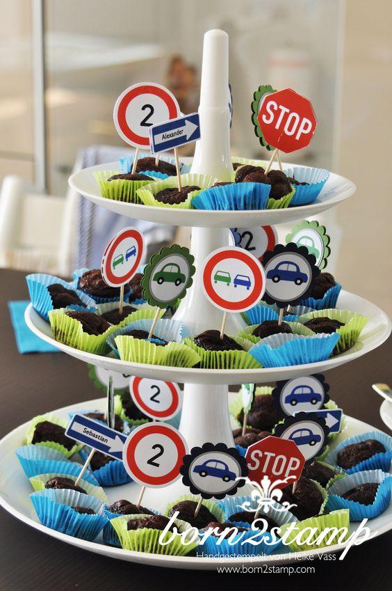 Auto Party Geburtstag Birthday Car theme Deko decoration Muffinstecker Cupcake