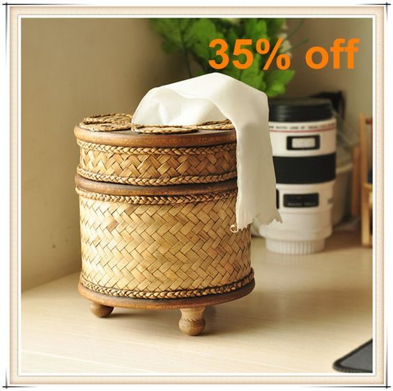 ci E50,- // Nieuwe aankomst! Thailand stijl vintage hand breien bamboe weefsel houder stoeltype papierrol tissue servet bus creatieve(China (Mainland))